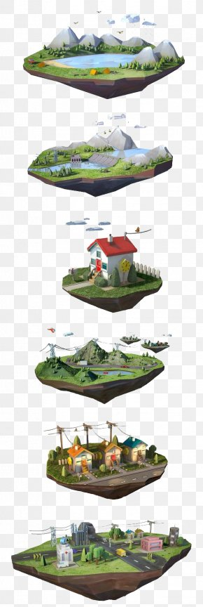 Floating Island - Computer Graphics Motion Graphics Illustration PNG