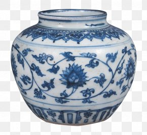 Ching Ming Blue And White Lotus Flower Pot - Blue And White Pottery Porcelain PNG