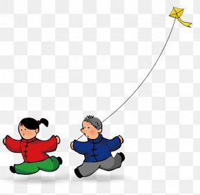 A Child Flying A Kite - Cartoon Kite PNG