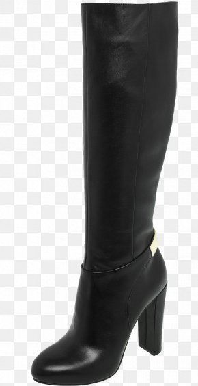Black Women Boots Image - Riding Boot Shoe High-heeled Footwear PNG