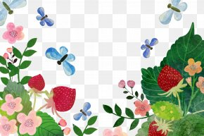 Vector Watercolor Floral Butterfly Decorative Pattern Strawberry - Watercolor Painting Adobe Illustrator Download Splash PNG
