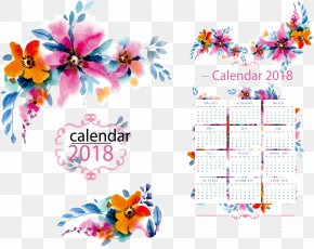 Vector Watercolor Calendar Template - Floral Design Flower Pattern PNG