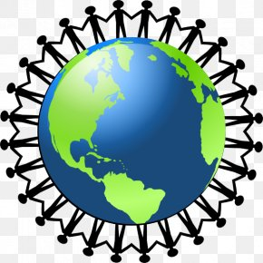 Cartoon People Holding Hands - Globe World Free Content Clip Art PNG