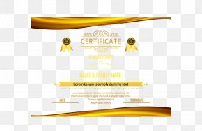 Gold Border Certificate - Yellow Brand Font PNG