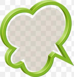 Green 3D Stereoscopic Clouds Dialog - Speech Balloon 3D Computer Graphics Clip Art PNG