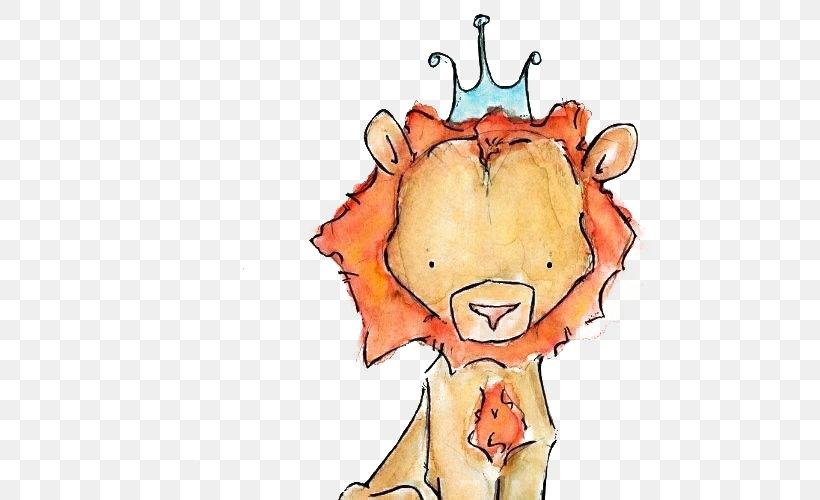 Lion Giraffe Child Art Illustration, PNG, 500x500px, Watercolor, Cartoon, Flower, Frame, Heart Download Free