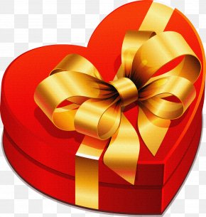 Large Heart Gift Box With Gold Bow Clipart - Christmas Gift Clip Art PNG