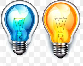 Light Bulb - Incandescent Light Bulb Color Vector Electric Light PNG