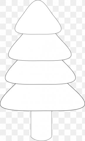 Christmas Tree Line Art - White Christmas Tree Line Art Black Angle PNG