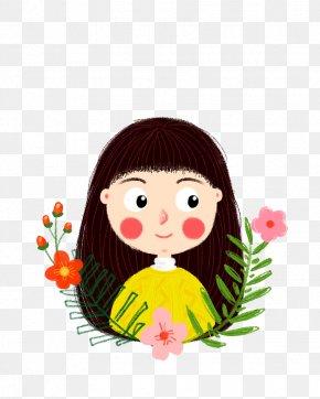 Cartoon Long Hair Small Lotus - Cartoon Designer Long Hair PNG