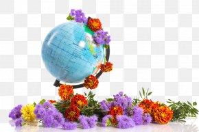 Flowers On A Globe - School Teacher Lesson Clip Art PNG
