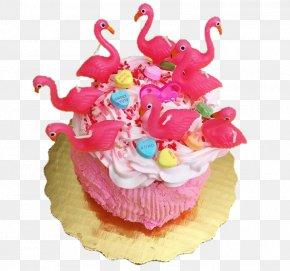 Flamingo Birthday Cake - Cupcake Birthday Cake Muffin Torte PNG