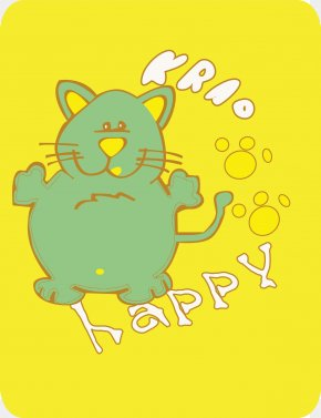 Cartoons, Cats And Footprints On A Yellow Background - Cat Felidae Hello Kitty Cartoon Illustration PNG