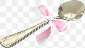 Metal Spoon Bow Ribbon - Metal Spoon Ribbon PNG