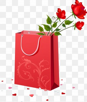 Red Gift Bag With Roses Clipart - Wedding Anniversary Wish Happiness PNG