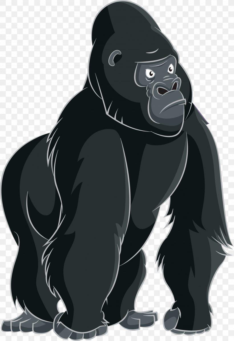 Gorilla Ape Cartoon Clip Art, PNG, 2728x3988px, Gorilla, Ape, Black, Cartoon, Fictional Character Download Free