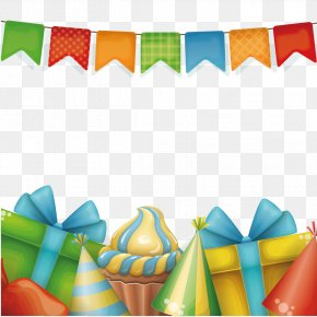 Gift Boxes And Bunting - Birthday Cake Gift Greeting Card PNG