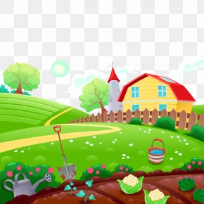 Vector Cartoon Illustration Farm - Farm Cartoon Drawing Illustration PNG