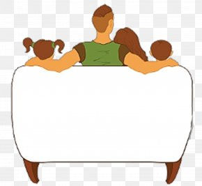One Family Watching TV Illustrations - Television Family Cartoon Clip Art PNG
