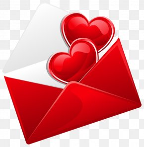 Transparent Red Love Letter With Hearts Picture - Love Letter Clip Art PNG