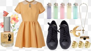 Beige Doll Collar Dress - Fashion Dress Collar Shoe PNG
