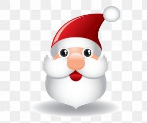 Cartoon Santa Head Vector - Santa Claus Reindeer Cartoon Christmas PNG