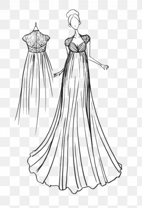 Small Fresh Hand-painted Dress - Gown Clothing Formal Wear Fashion Sketch PNG