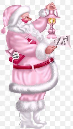 Pink Santa Claus - Santa Claus Christmas Card Greeting Card Clip Art PNG