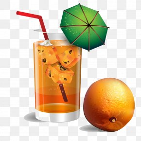 The Glass Drinks With Fruit - Orange Juice Drink Fruit PNG