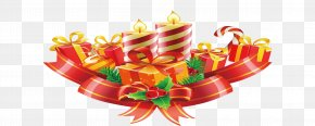 Birthday Gift Element - Gift Ribbon Birthday Candle PNG