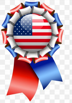 USA Flag Rosette Ribbon Clipart Image - Flag Of The United States Clip Art PNG