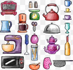 Vector Hand-painted Kitchen Supplies - Kitchen Utensil Microwave Oven Cookware And Bakeware Colander PNG