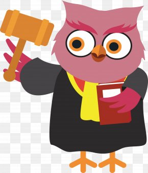 Justice Owl - Judge Cartoon Court Law PNG