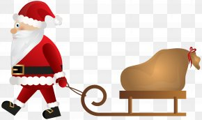 Santa Claus With Sleigh Clip Art - Santa Claus Rudolph Sled Christmas Clip Art PNG