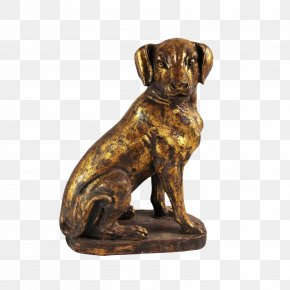 A Dog With A Gold Ingot - Dog Breed Bronze Sculpture Figurine PNG