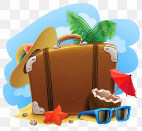 Summer Decorative Picture Clipart - Travel Suitcase Summer Vacation Clip Art PNG
