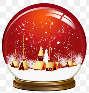 Red Christmas Snowglobe Clipart - Snow Globe Christmas Clip Art PNG