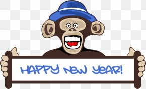 Happy New Year - New Year's Day Chinese New Year Monkey Clip Art PNG