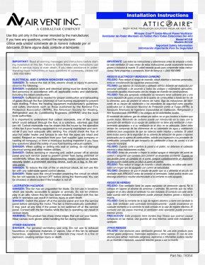 Fan - Attic Fan Air Vent Inc Product Manuals User PNG