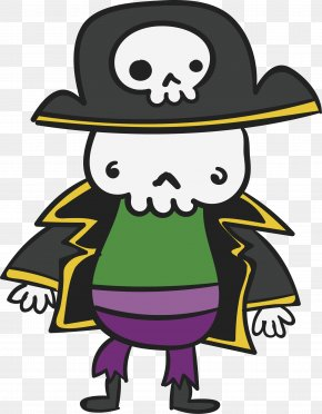Skeleton Pirate - Human Skeleton Bone Clip Art PNG