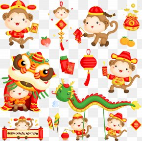 Chinese New Year Monkey Vectors - Chinese New Year Monkey Clip Art PNG