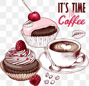 Vector Painted Cupcakes - Coffee Fruitcake Cupcake Chocolate Cake Tea PNG