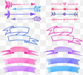 Vector Painted Banners - Watercolor Painting PNG