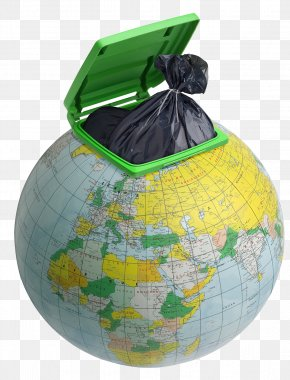 Creative Environmental Protection Globe Garbage Can - Plastic Bag Waste Container Bin Bag Resource PNG