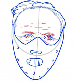 Anonymous Mask - Hannibal Lecter Drawing Line Art Cartoon Mask PNG