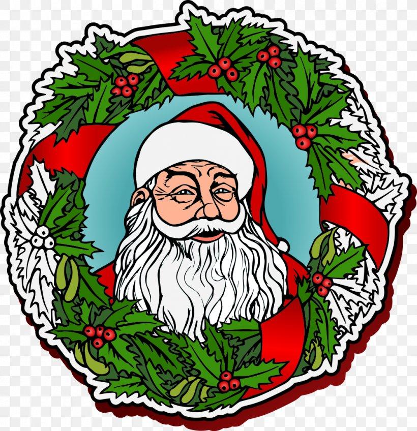 Santa Claus Wreath Christmas, PNG, 998x1033px, Santa Claus, Art, Christmas, Christmas Decoration, Christmas Ornament Download Free