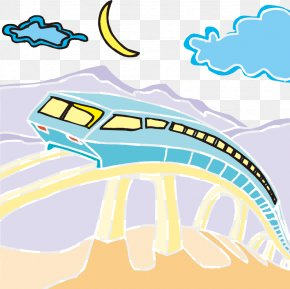 Hand-drawn Cartoon Illustration High Speed Metro - Rapid Transit Train Rail Transport Cartoon Illustration PNG