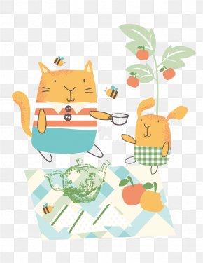 Vector Picnic Cartoon Cat Rabbit - Cartoon Picnic Illustration PNG