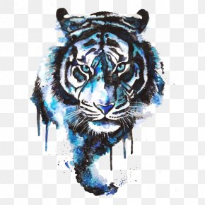 Watercolor Tiger - Tiger Drawing Tattoo Art Watercolor Painting PNG