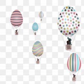 Easter Bunny Vector Material With Hot Air Balloon - Easter Bunny PNG